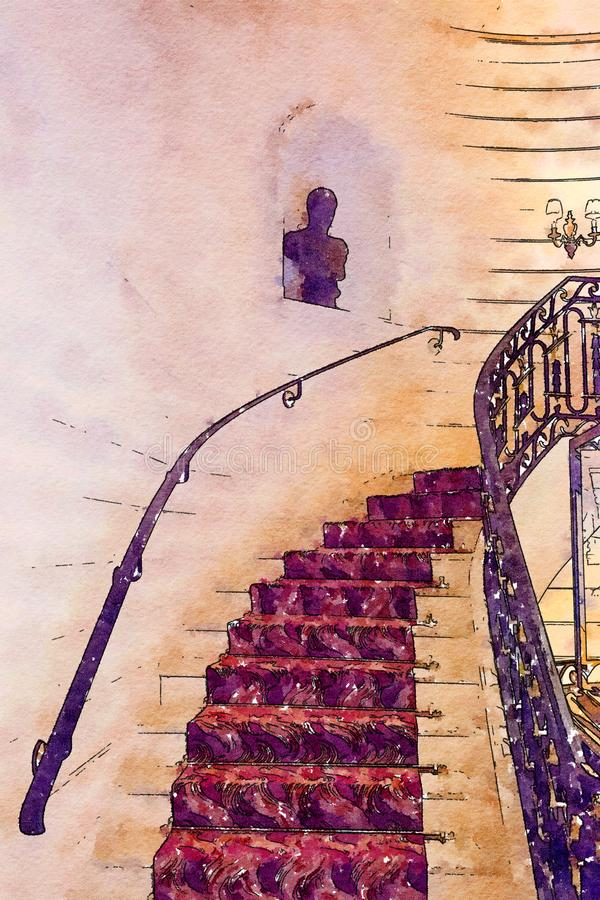Σκαλοπάτια στο εσωτερικό ξενοδοχείων απεικόνιση αποθεμάτων