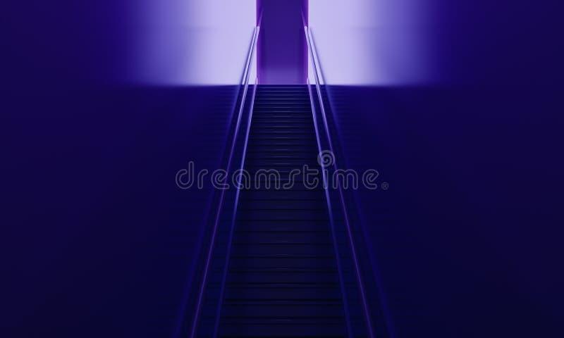 Σκαλοπάτια στο πορφυρό εσωτερικό διανυσματική απεικόνιση