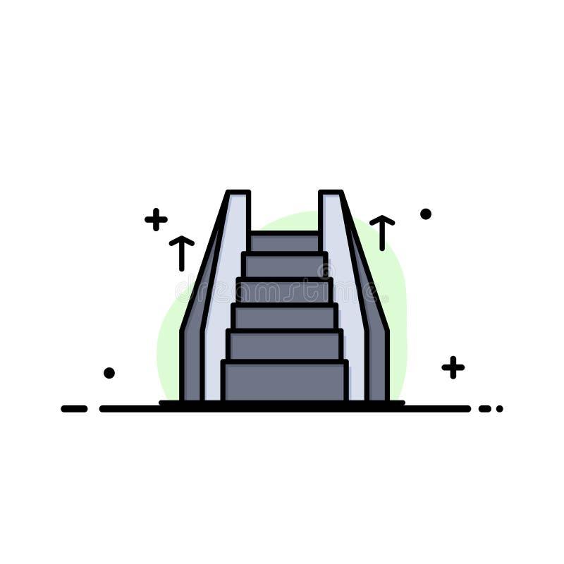 Σκαλοπάτι, ανελκυστήρας, ηλεκτρικός, σκαλών πρότυπο εμβλημάτων επιχειρησιακών επίπεδο γεμισμένο γραμμή εικονιδίων διανυσματικό διανυσματική απεικόνιση
