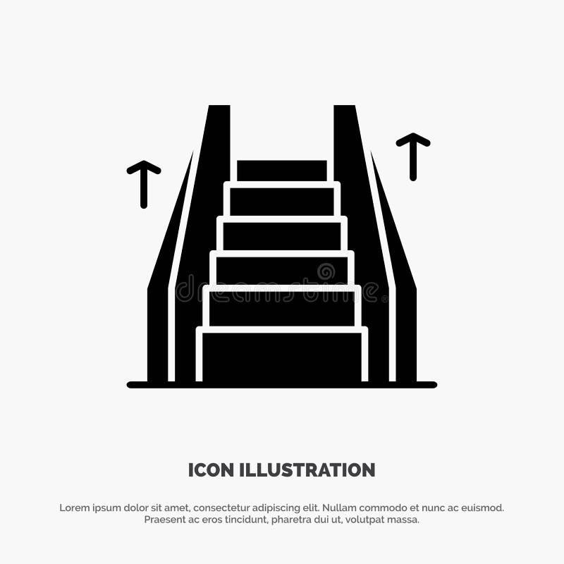 Σκαλοπάτι, ανελκυστήρας, ηλεκτρικός, στερεό μαύρο εικονίδιο Glyph σκαλών διανυσματική απεικόνιση