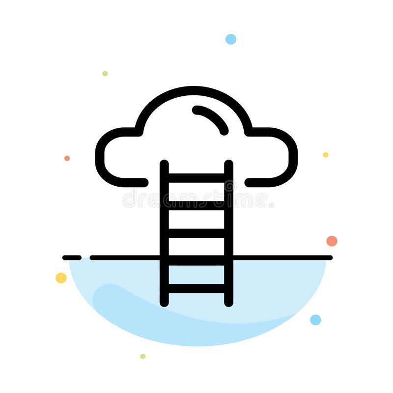 Σκαλοπάτι, σύννεφο, χρήστης, αφηρημένο επίπεδο πρότυπο εικονιδίων χρώματος διεπαφών διανυσματική απεικόνιση