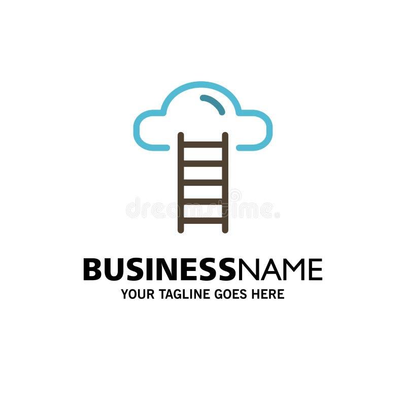 Σκαλοπάτι, σύννεφο, χρήστης, πρότυπο επιχειρησιακών λογότυπων διεπαφών Επίπεδο χρώμα ελεύθερη απεικόνιση δικαιώματος