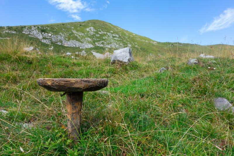 Σκαμνί για το άρμεγμα των ενιαίος-με πόδια αγελάδων Χαρακτηριστικός των ποιμένων στοκ φωτογραφία