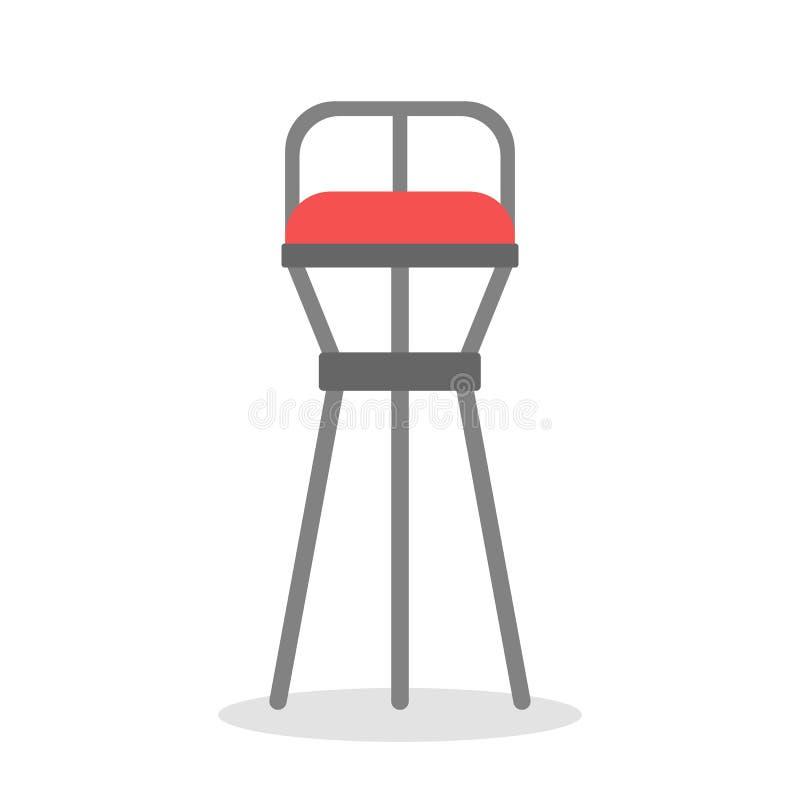 Σκαμνί φραγμών Ψηλή καρέκλα για τον καφέ και την καφετέρια Σύγχρονα έπιπλα διανυσματική απεικόνιση