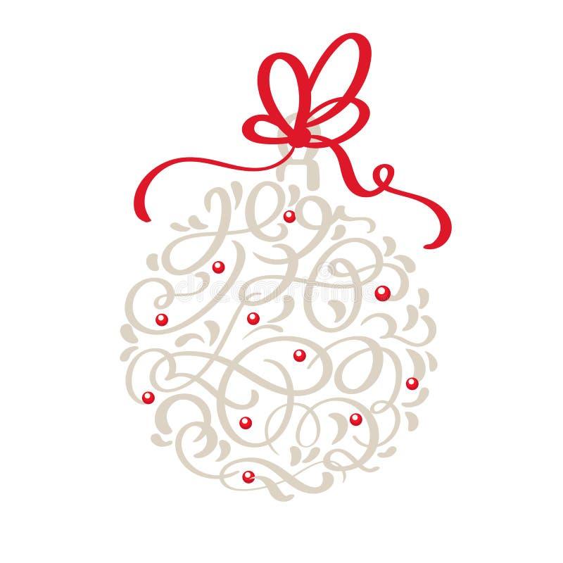 Σκανδιναβική ευχετήρια κάρτα Χριστουγέννων με συρμένο διανυσματικό εκλεκτής ποιότητας κουδούνι Χριστουγέννων καλλιγραφίας το χέρι διανυσματική απεικόνιση