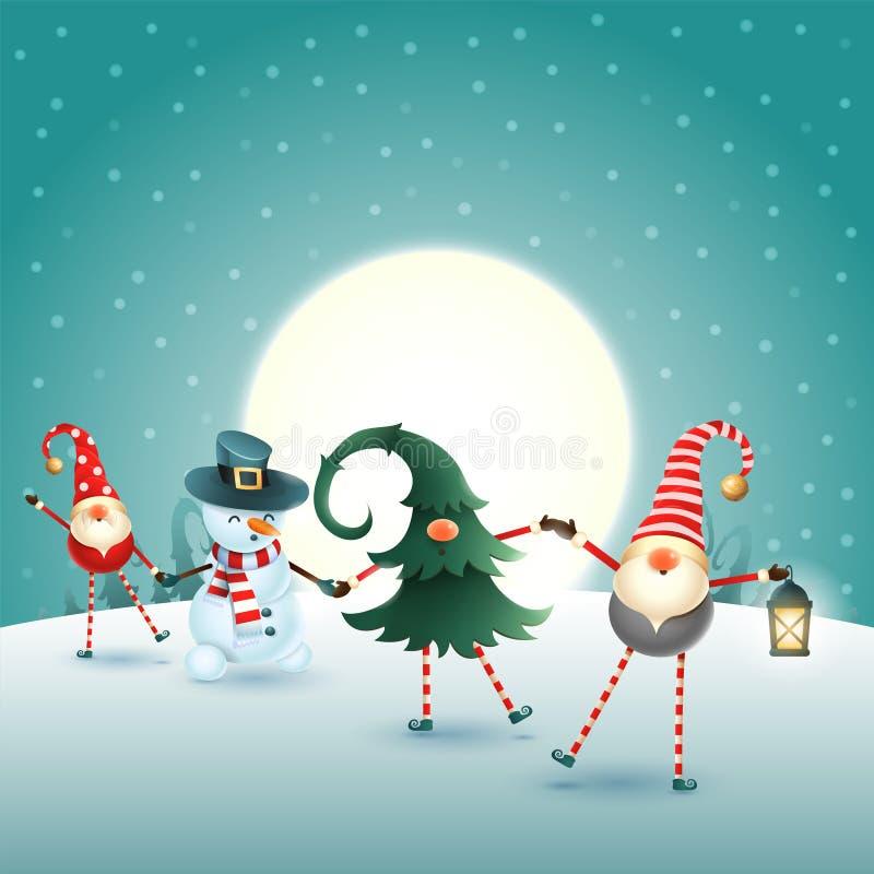 Σκανδιναβικοί στοιχειά και χιονάνθρωπος Χριστουγέννων στη χειμερινή σκηνή σεληνόφωτου διανυσματική απεικόνιση