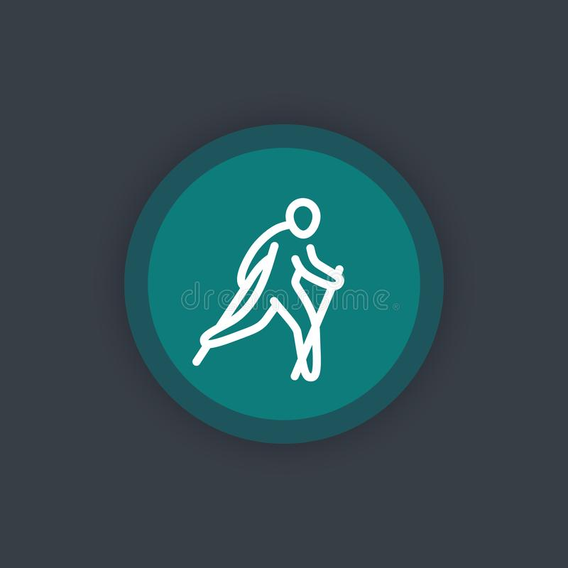 Σκανδιναβικό εικονίδιο περπατήματος, γραμμικό εικονόγραμμα διανυσματική απεικόνιση