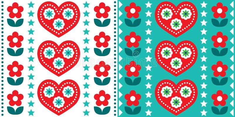 Σκανδιναβικό λαϊκό καλλιτεχνικό σχέδιο χωρίς ραφές, χαριτωμένο φιλικό σκανδιναβικό σχέδιο με κόκκινο και τυρκουάζ πράσινο απεικόνιση αποθεμάτων