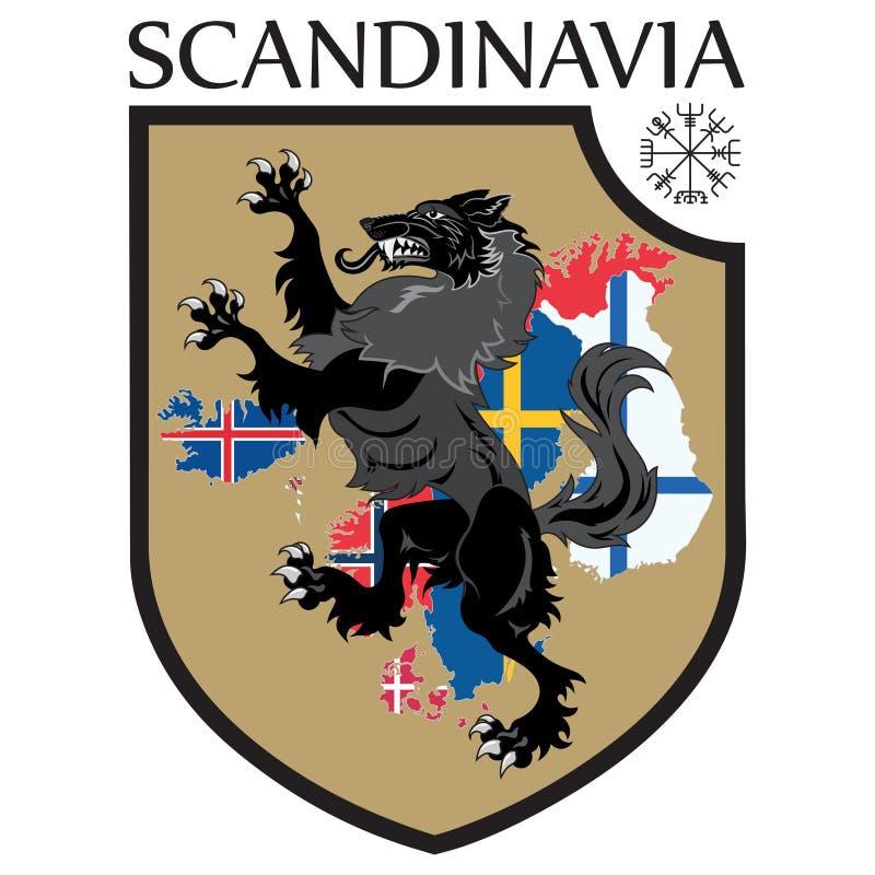 Σκανδιναβικό σχέδιο Εραλδική ασπίδα, ένας λύκος σε έναν χάρτη υποβάθρου των Σκανδιναβικών χωρών - Σουηδία, Νορβηγία, Δανία διανυσματική απεικόνιση