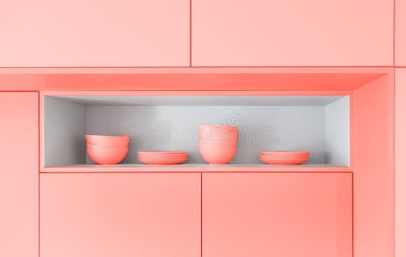 Σκανδιναβικό σχέδιο κουζινών tableware Χρώμα του κοραλλιού διαβίωσης έτους 2019 απαγορευμένα στοκ φωτογραφίες με δικαίωμα ελεύθερης χρήσης
