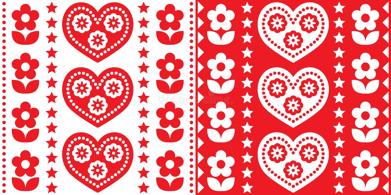Σκανδιναβικό Χριστουγεννιάτικο λαϊκό σχέδιο χωρίς ραφές, χαριτωμένο εορταστικό Σκανδιναβικό σχέδιο με κόκκινο και λευκό διανυσματική απεικόνιση