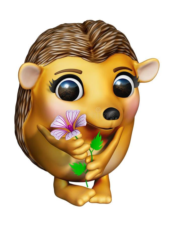Σκαντζόχοιρος με το λουλούδι στοκ εικόνες