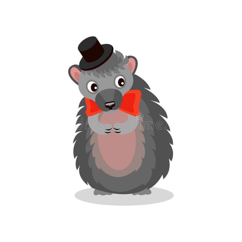 Σκαντζόχοιρος που φορά το μαύρο καπέλο και τον κόκκινο δεσμό τόξων, χαριτωμένη ζωική διανυσματική απεικόνιση χαρακτήρα κινουμένων ελεύθερη απεικόνιση δικαιώματος