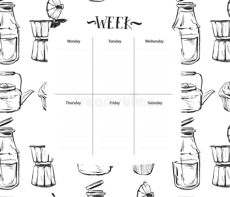 Σκανδιναβικό εβδομαδιαίο και καθημερινό πρότυπο αρμόδιων για το σχεδιασμό τροφίμων Διοργανωτής και σχέδιο με τις σημειώσεις και γ ελεύθερη απεικόνιση δικαιώματος
