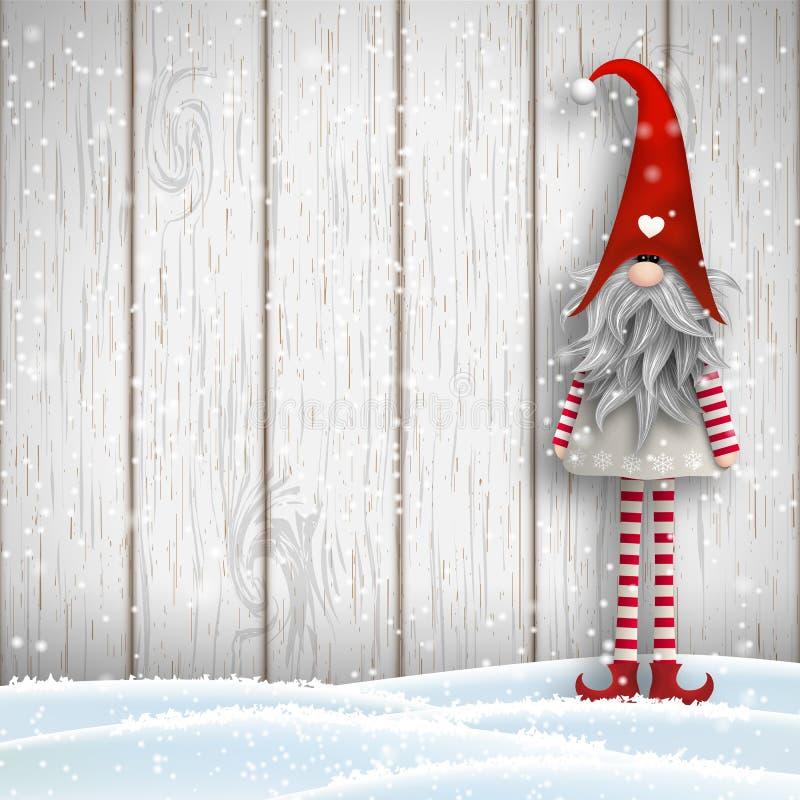Σκανδιναβικό παραδοσιακό στοιχειό Χριστουγέννων, Tomte, απεικόνιση διανυσματική απεικόνιση