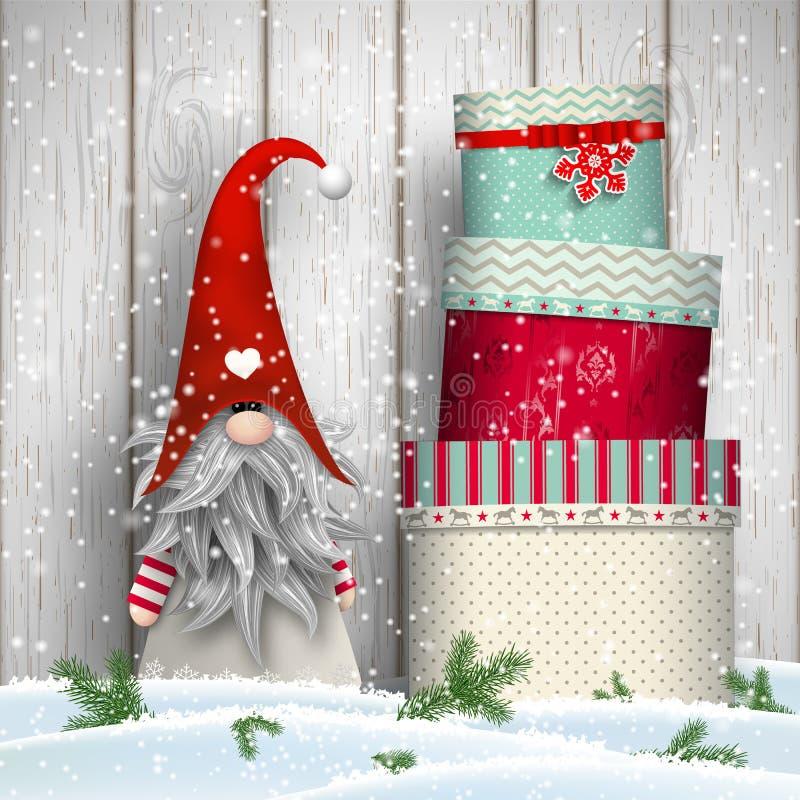 Σκανδιναβικό παραδοσιακό στοιχειό Χριστουγέννων, Tomte, με το σωρό των ζωηρόχρωμων κιβωτίων δώρων, απεικόνιση απεικόνιση αποθεμάτων