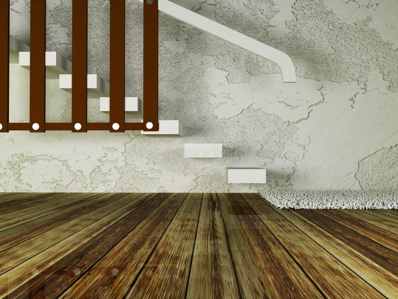 Σκαλοπάτια σε ένα κενό δωμάτιο διανυσματική απεικόνιση