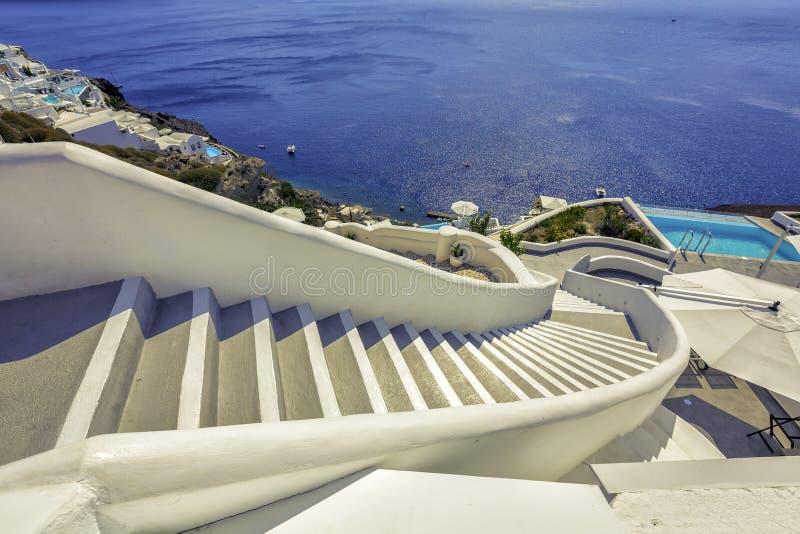 Σκαλοπάτια στη θάλασσα, νησί Santorini - Ελλάδα στοκ εικόνες