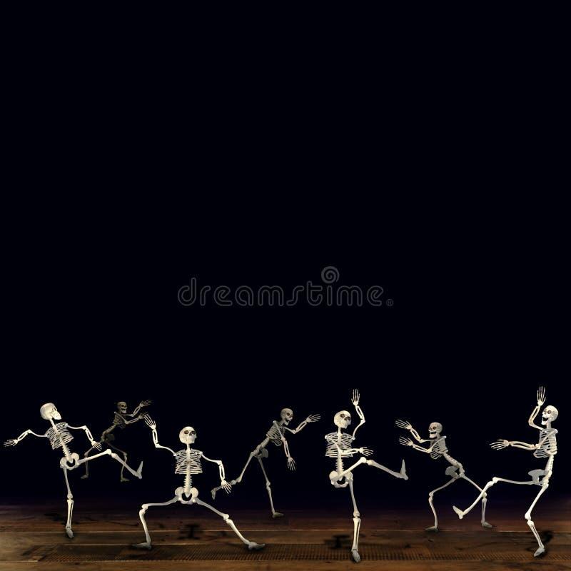 Σκελετοί αποκριών Μαύρη ανασκόπηση ελεύθερη απεικόνιση δικαιώματος