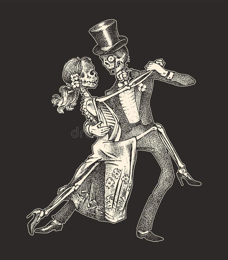 Σκελετοί που χορεύουν Πρότυπο πανό για τις αποκριές Ημέρα των νεκρών Σκίτσο με χαραγμένο χέρι για τατουάζ, μπλουζάκι ή λογότυπο απεικόνιση αποθεμάτων
