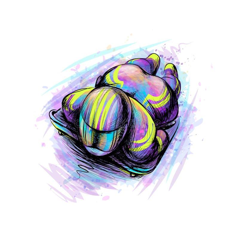 Σκελετός από τον παφλασμό των watercolors Συρμένο χέρι σκίτσο Κάθοδος χειμερινού αθλητισμού σε ένα έλκηθρο διανυσματική απεικόνιση
