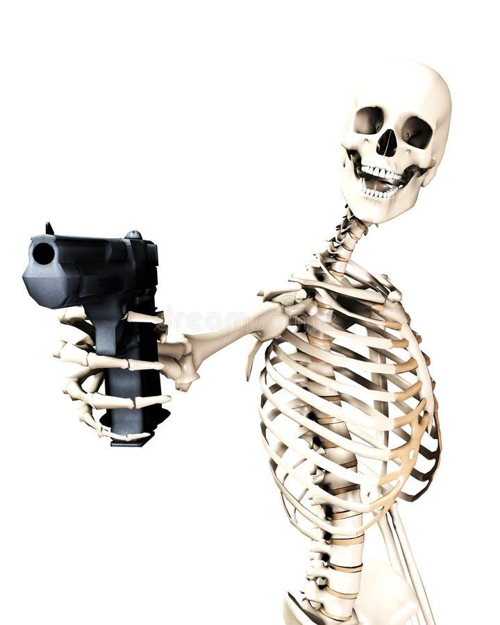 Σκελετός και πυροβόλο όπλο 4 διανυσματική απεικόνιση