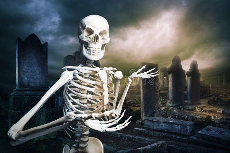 Σκελετός σε ένα νεκροταφείο που καλωσορίζει σας στοκ εικόνες