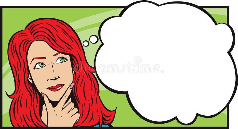 σκεπτόμενη γυναίκα αφηρημ διανυσματική απεικόνιση