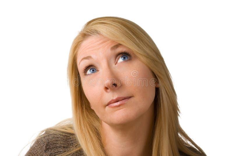 σκεπτόμενη γυναίκα ιδέας στοκ εικόνες