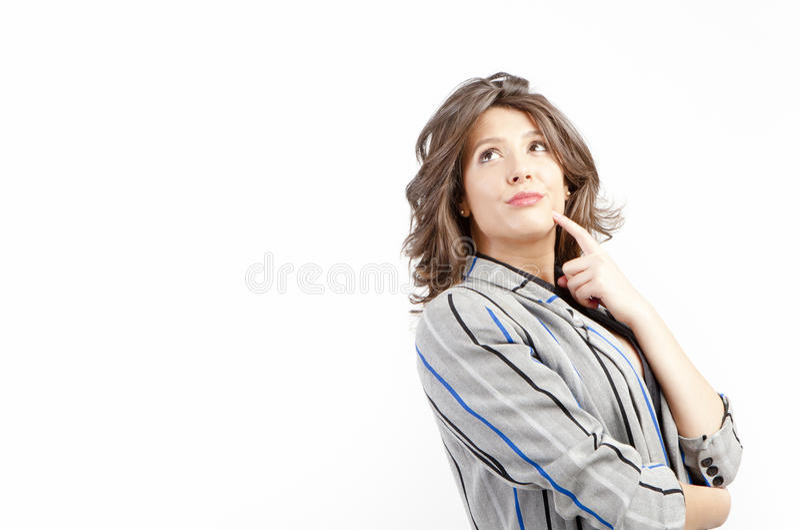 σκεπτόμενη γυναίκα στοκ εικόνες με δικαίωμα ελεύθερης χρήσης