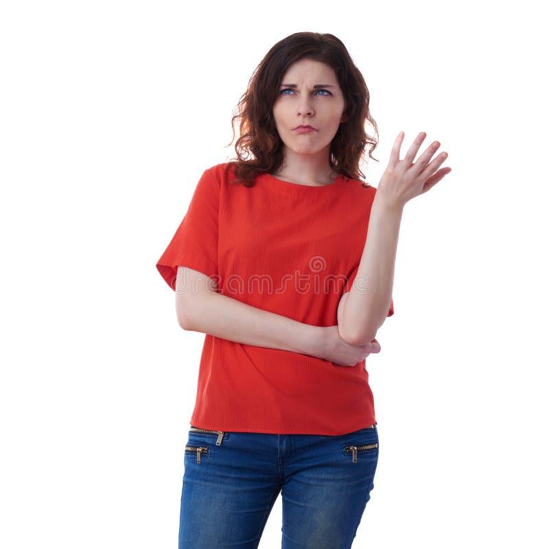 Σκεπτόμενη oung γυναίκα πέρα από απομονωμένο το λευκό υπόβαθρο στοκ φωτογραφία με δικαίωμα ελεύθερης χρήσης