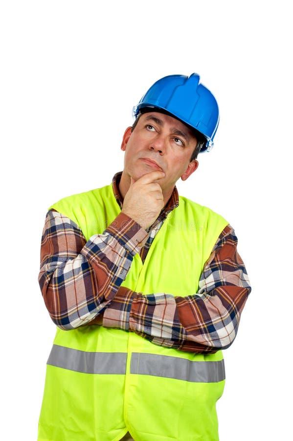 σκεπτόμενος εργαζόμενος κατασκευής στοκ φωτογραφία με δικαίωμα ελεύθερης χρήσης