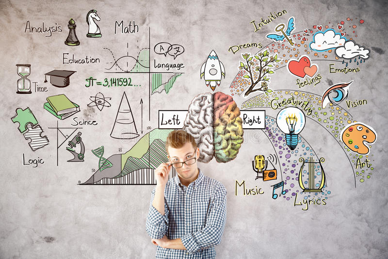 Σκεπτόμενο άτομο με το σκίτσο εγκεφάλου στοκ φωτογραφίες
