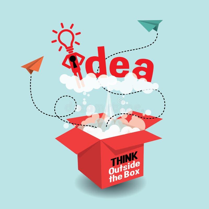 Σκεφτείτε έξω από το κιβώτιο Δημιουργική ιδέα διανυσματική απεικόνιση
