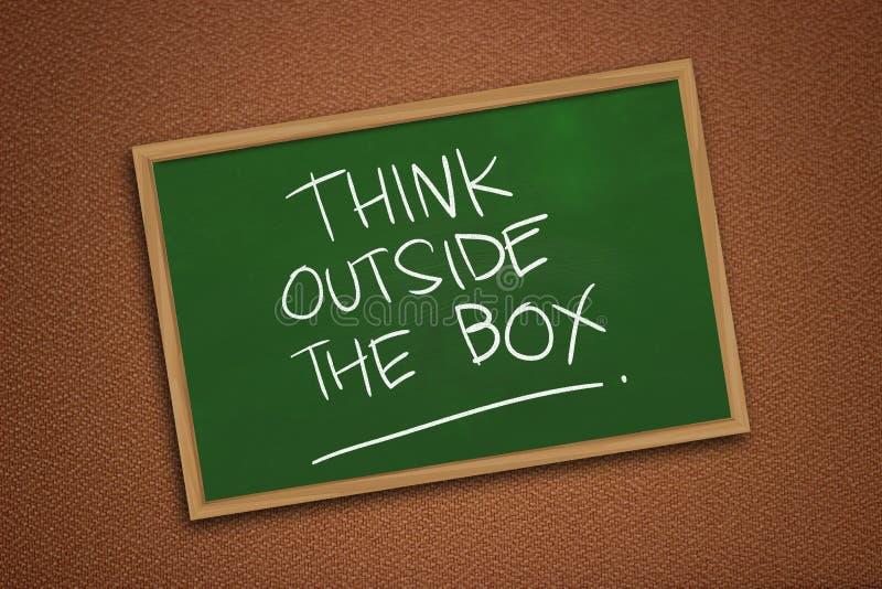 Σκεφτείτε έξω από το κιβώτιο, κινητήρια έννοια αποσπασμάτων λέξεων στοκ φωτογραφία με δικαίωμα ελεύθερης χρήσης