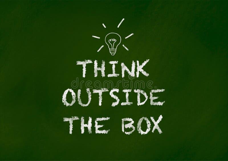 Σκεφτείτε έξω από το κιβώτιο στον πίνακα κιμωλίας διανυσματική απεικόνιση