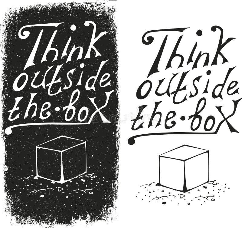 Σκεφτείτε έξω από το κιβώτιο - σχεδιάστε το στοιχείο διανυσματική απεικόνιση