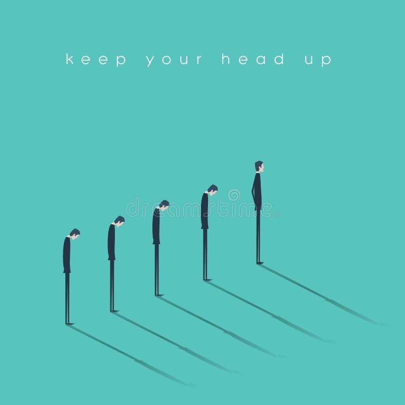 Σκεφτείτε θετικός και κρατήστε το κεφάλι σας επάνω στη διανυσματική έννοια Αισιόδοξος επιχειρηματίας που στέκεται μπροστά από τη  απεικόνιση αποθεμάτων