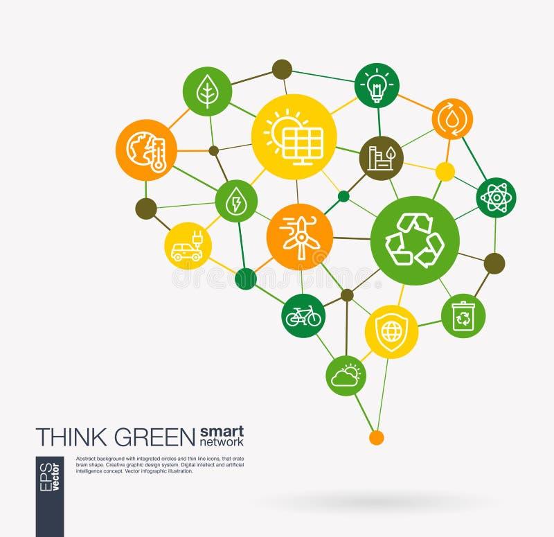 Σκεφτείτε πράσινος, περιβαλλοντικός, οικολογία, διανυσματικά εικονίδια ανακύκλωσης και επιχειρήσεων eco ενσωματωμένα ενέργεια Ψηφ διανυσματική απεικόνιση