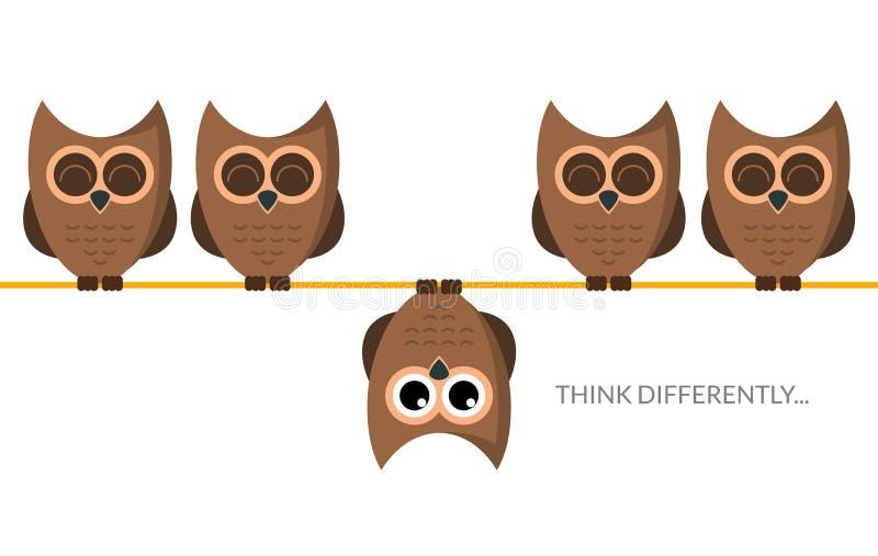 Σκεφτείτε τη διαφορετική αστεία έννοια ιδέας Μοναδική ελάχιστη στάση κουκουβαγιών ηγετών Σκεφτείτε διαφορετικά την ηγεσία διανυσματική απεικόνιση