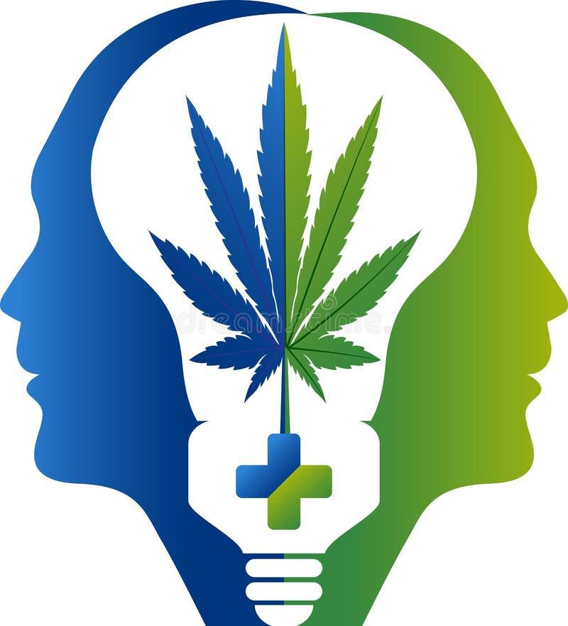 Σκεφτείτε το βοτανικό λογότυπο ιατρικής διανυσματική απεικόνιση