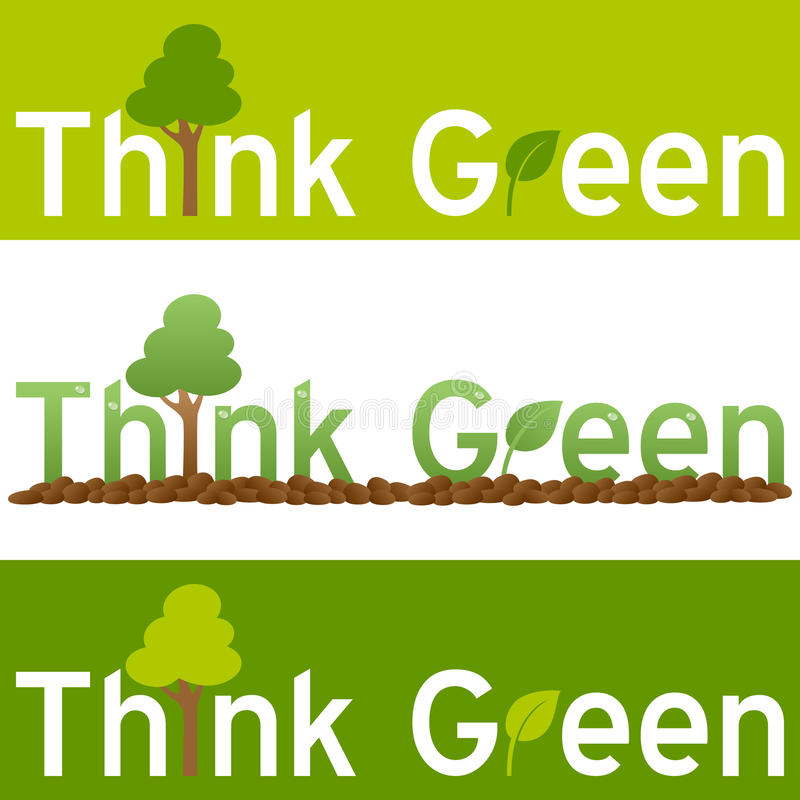 Σκεφτείτε το πράσινο έμβλημα έννοιας διανυσματική απεικόνιση