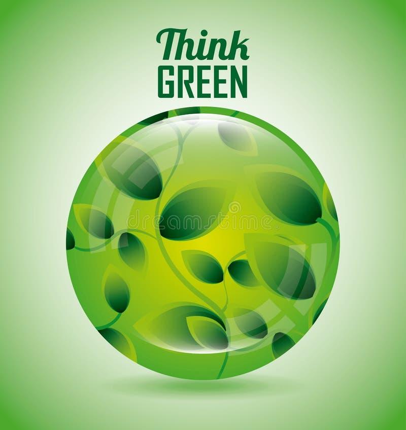 Download Σκεφτείτε το πράσινο σχέδιο Διανυσματική απεικόνιση - εικονογραφία από οικολογία, πράσινος: 62704376
