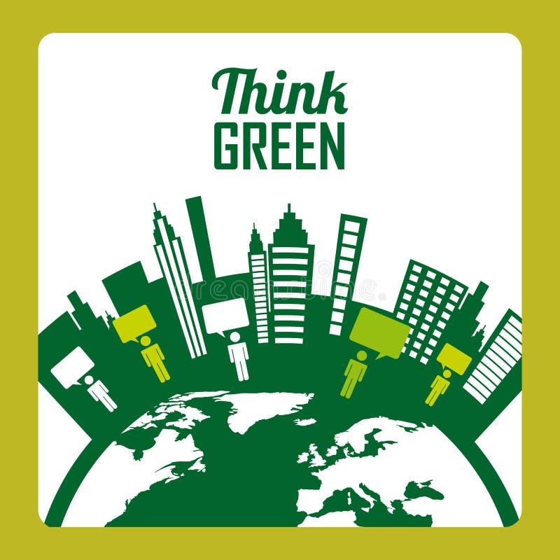 Download Σκεφτείτε το πράσινο σχέδιο Διανυσματική απεικόνιση - εικονογραφία από απεικόνιση, διάλυμα: 62704398