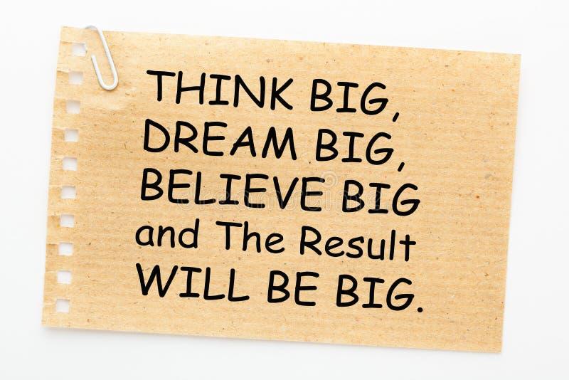 Σκεφτείτε ότι το όνειρο θεωρεί το αποτέλεσμα στοκ φωτογραφία με δικαίωμα ελεύθερης χρήσης