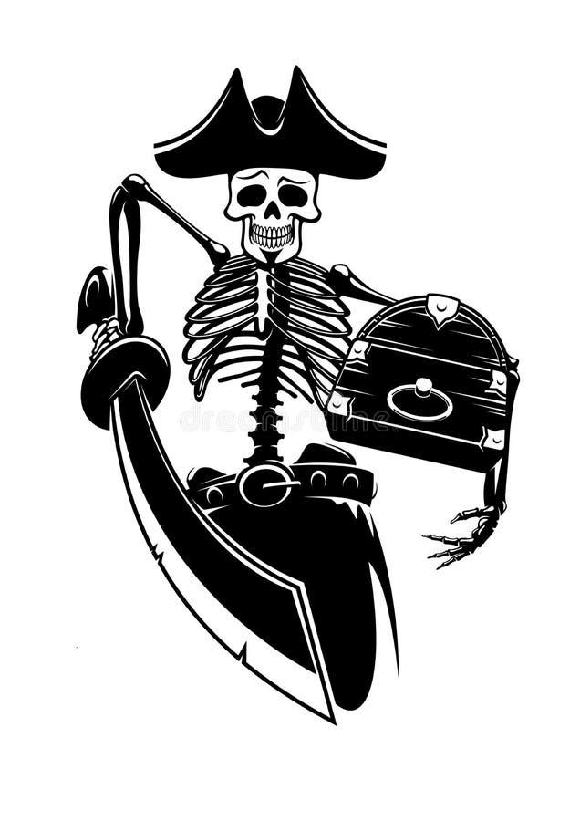Σκελετός πειρατών με τους θησαυρούς και το ξίφος ελεύθερη απεικόνιση δικαιώματος