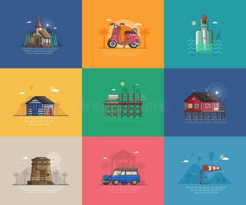 Σκηνές και κάρτες διακοπών θερινής θάλασσας ελεύθερη απεικόνιση δικαιώματος