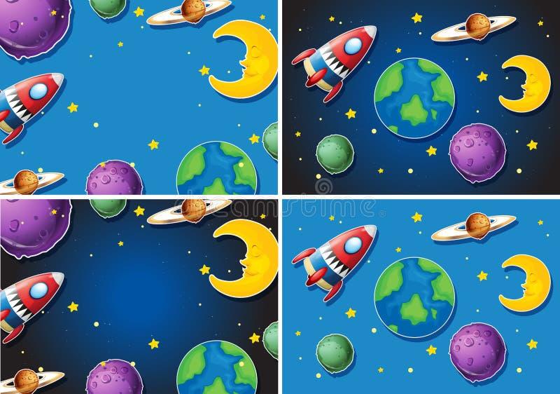 Σκηνές με τον πύραυλο και τους πλανήτες διανυσματική απεικόνιση