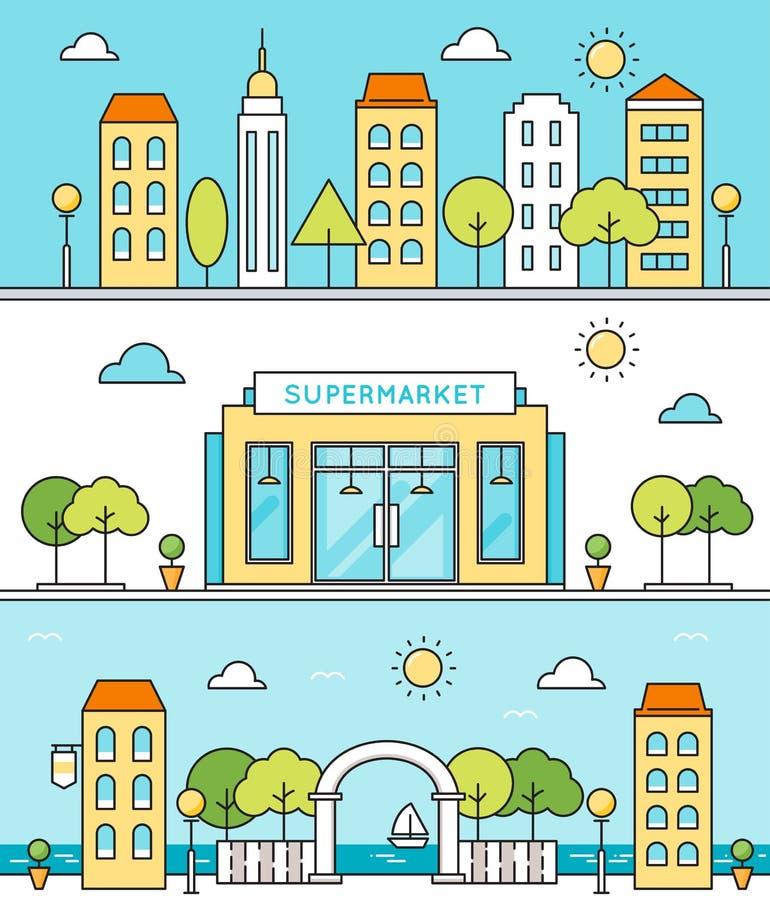 Σκηνές πόλεων Οδοί, κτήρια, υπεραγορά, περιοχή προκυμαιών ελεύθερη απεικόνιση δικαιώματος