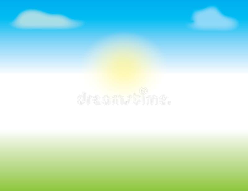 Σκηνή άνοιξης ή καλοκαιριού με τους μπλε ουρανούς και την πράσινη χλόη διανυσματική απεικόνιση
